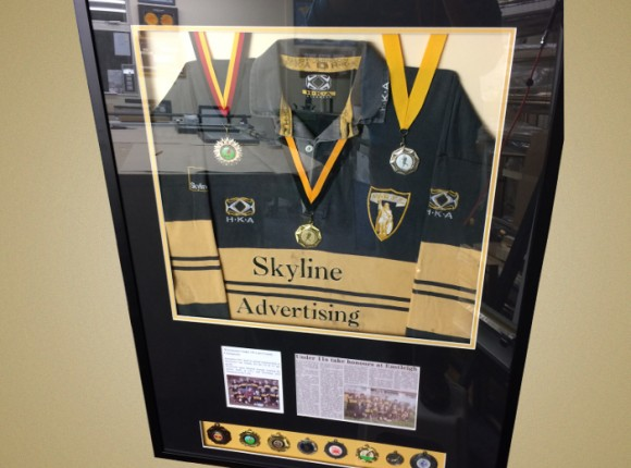 Rugby Shirt framing with memorabilia
