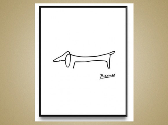 Framed picture of suasage dog to comlement Picasso!
